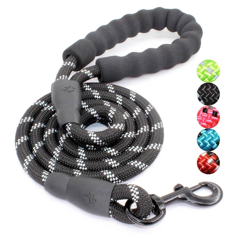 Strong Dog Leash for Medium and Large Dogs, Outdoor Dog Leashes with Comfortable Padded Handle and Reflective Threads