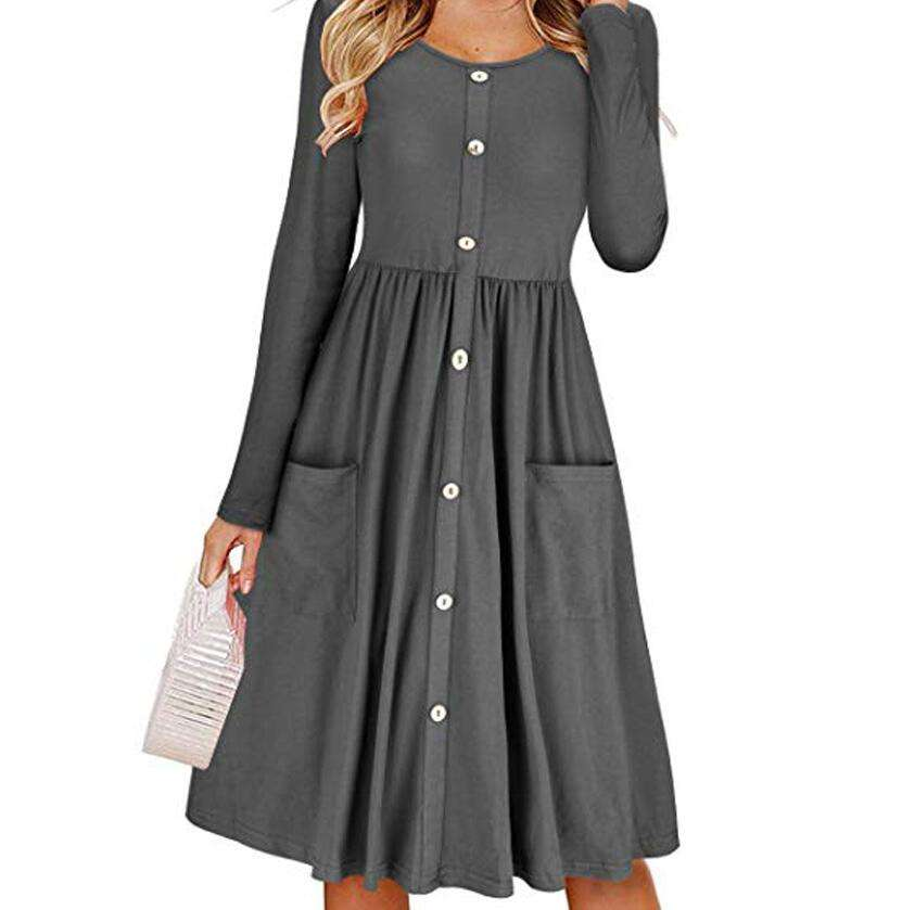 Latest models Round neck Long sleeve Ladies dress Buttoned long skirt