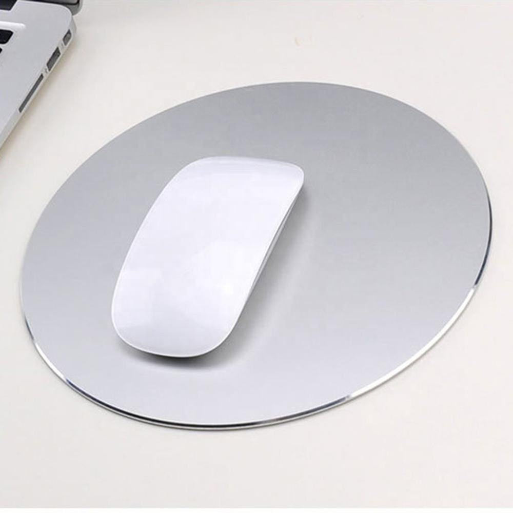 Mouse Mat Circular Gaming Aluminium Metal Mouse Pad with Waterproof Non Slip Rubber Base Frosted Surface for Apple Macbook