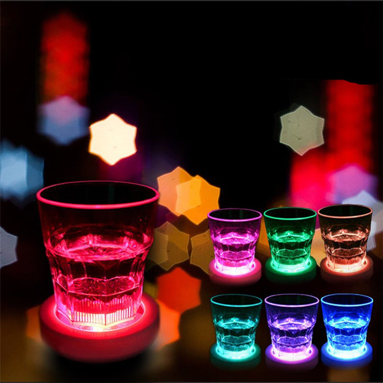 Bentuk Bulat LED Coaster Lampu Botol Piala Mat Lampu Flash Mat Mat Rumah Pesta Club Bar Supply