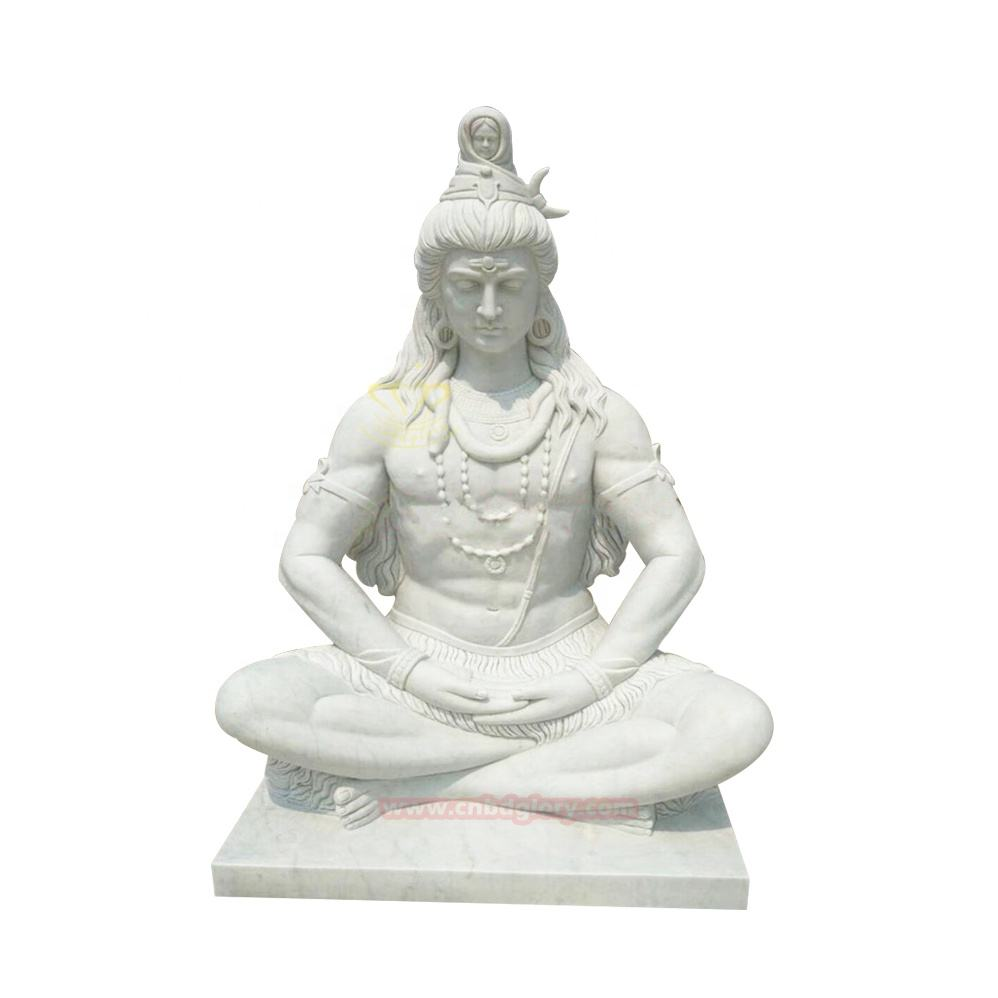 Natural Stone Hindu Indian Idol Carved Marble Shiva Statues Marble Garden Sets