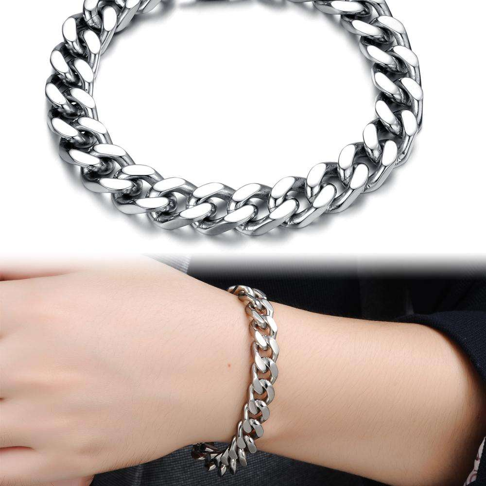 High quality Latest Fashion Stainless Steel Bracelet New Heavy Silver Hand Chain Designs For Men