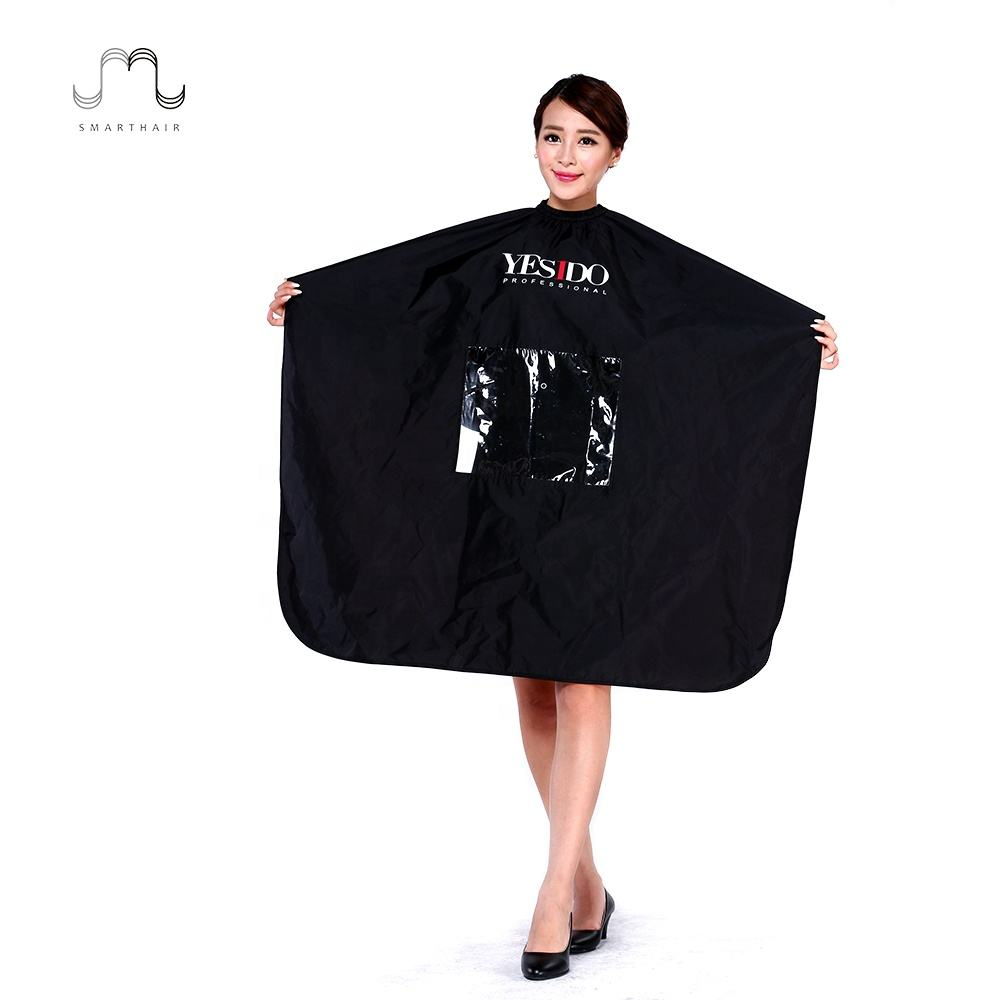 White Hair Salon Catcher Barber Stylist Polyester Capes With Clear Window For Hair Cutting Logo