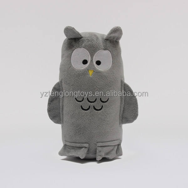 Soft plush owl shaped tube pillow with blanket inside