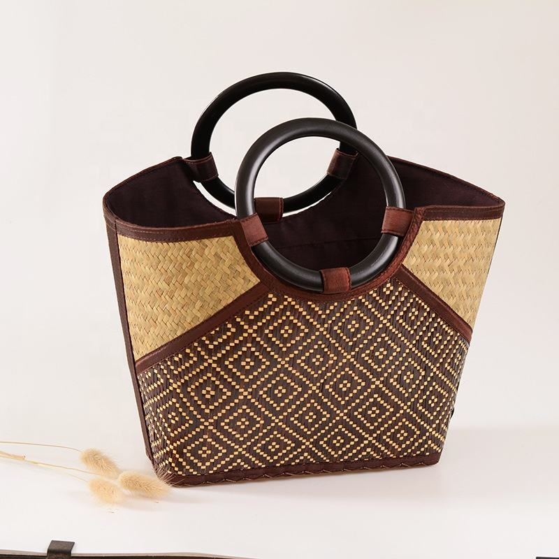 Bamboo Rattan Straw Basket Beach Bag for Women