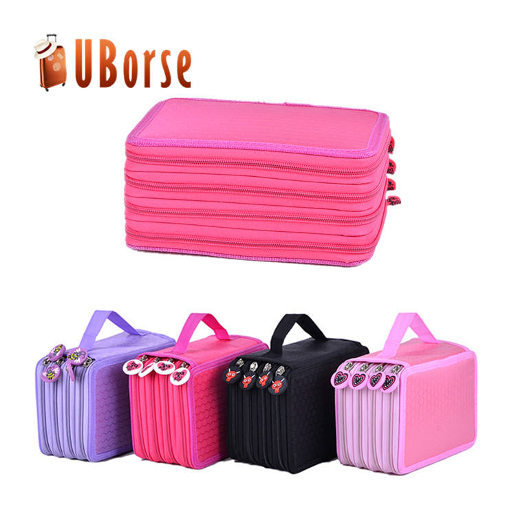 72 Holes 4 Layers Pen Pencil Case Bag Stationary Pouch Bag Travel Cosmetic Brush Makeup Storage Bag