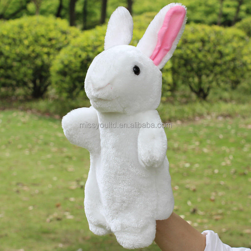 Hot Sale Many kinds Animal Hand Puppets Funny Rabbit Plush Glove Puppets