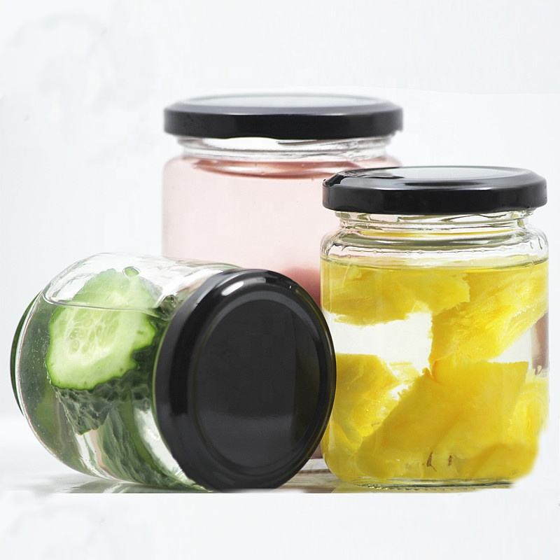 Jam jar round glass transparent storage glass honey jar with mental lid