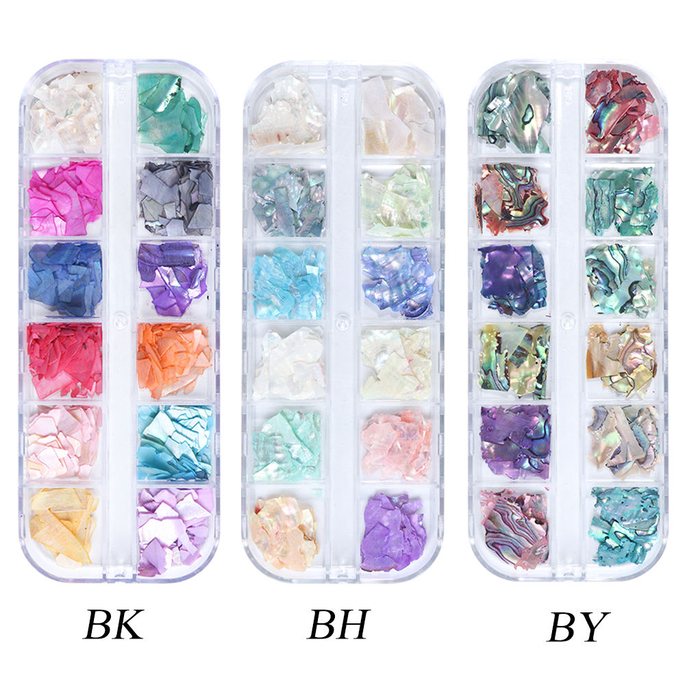 12 Grids Irregular Mermaid Broken Shell Nail Glitter Sequin Holographic Abalone Slice Flake 3D Manicure Charm Polish Nails