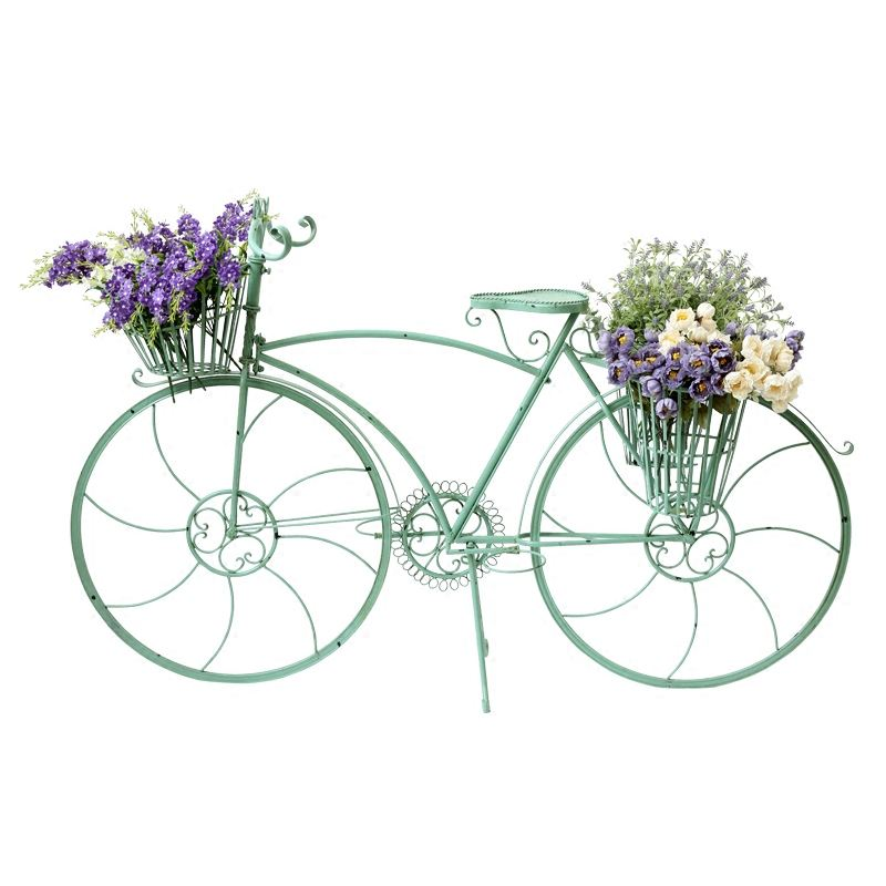 American country color bike model with flower basket on the ground decoration wedding flower shop clothing cafe decoration