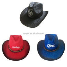Customized Logo Painted Paper Straw Cowboy Hats