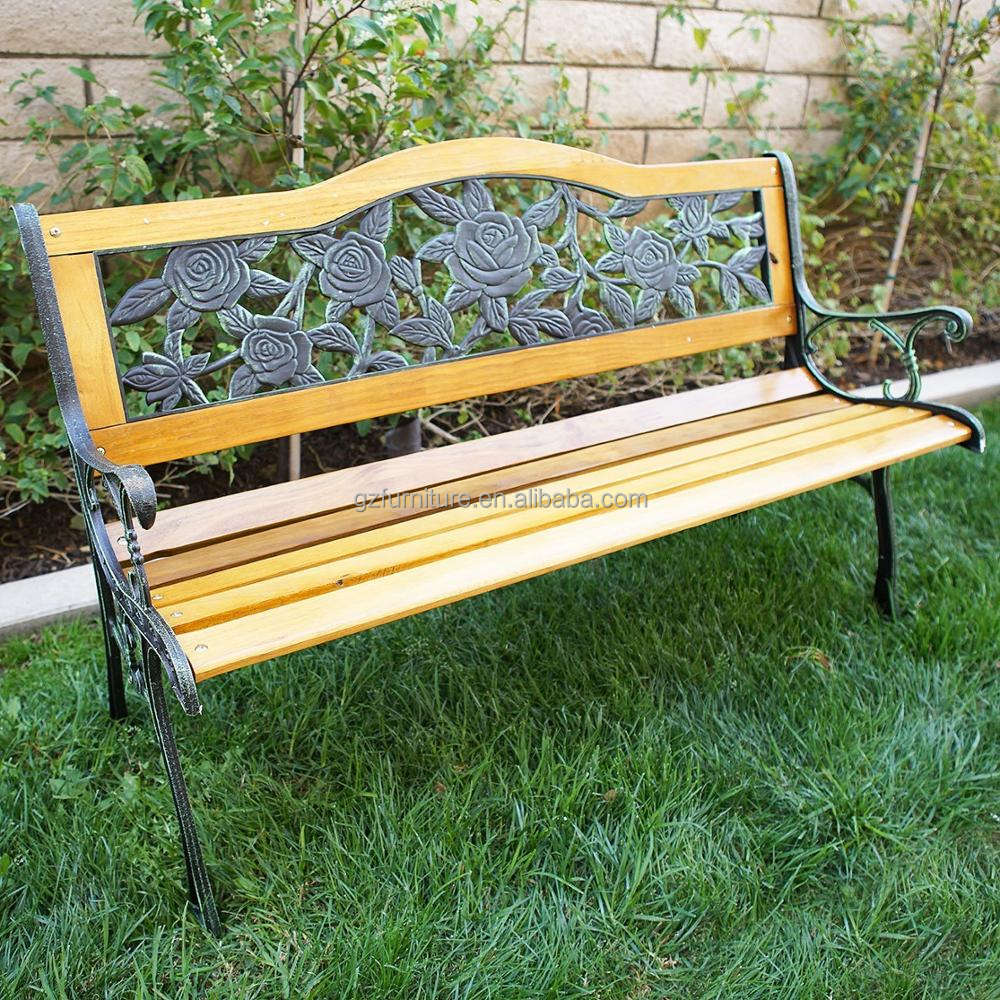 Rose Bloom Metal Park Bench - Cast Iron Bench for Yard or Garden