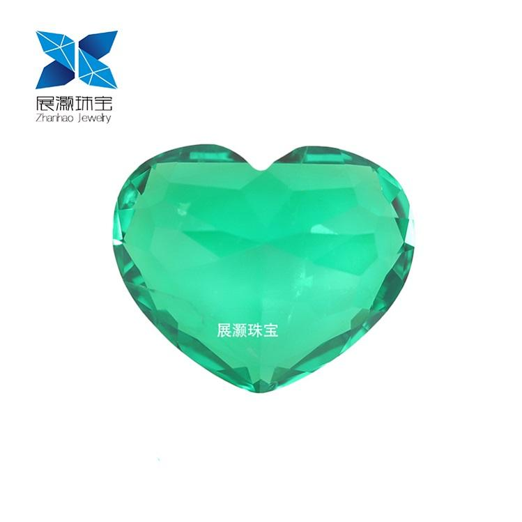 Zhanhao Jewelry heart cut green fire Russian material inclusion synthetic Colombian green fabric emerald cabochon
