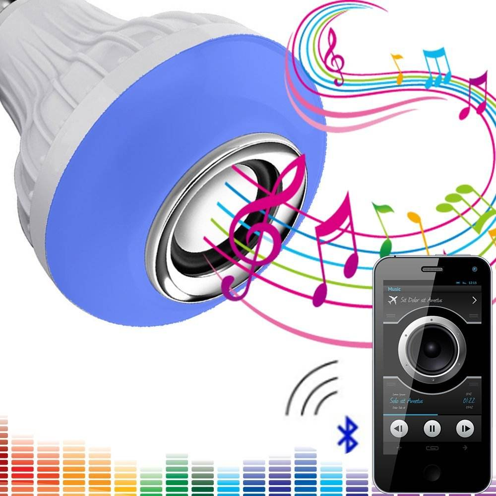 LED Music Light Bulb E27 RGB Changing Color Lamp Built- in Audio Remote Control Light Bulb Speaker