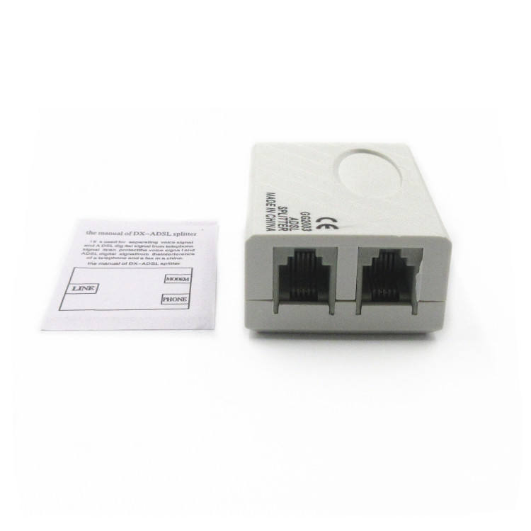 Light gray network telephone video RJ45 RJ11 ADSL modem splitter