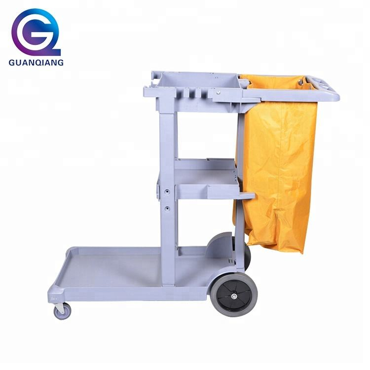 Eco-friendly Multifunction Hotel Plastic Housekeeping Cleaning Trolley Cart