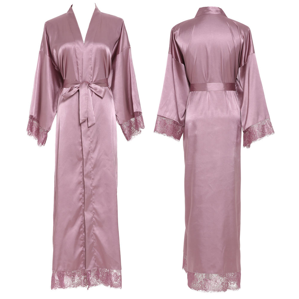 long lace robe Bridal silk satin robe Custom made women robe L003