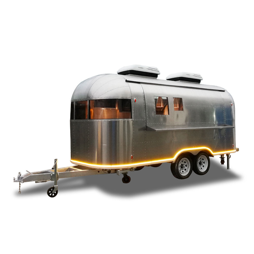 UKUNG new style mobile shiny/ wiredrawing stainless steel Airstream food truck, catering Hot dog cart