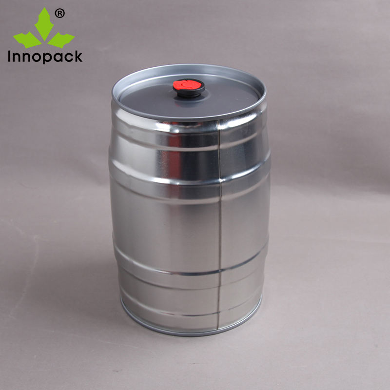 printed mini metal beer keg 5 liter with closure and tap
