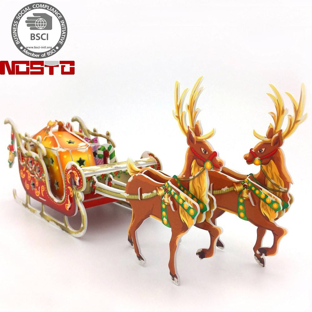 Promotion sale Amazon Charming Christmas Keepsake Santa's Sleigh with LED Lights 3D Puzzle