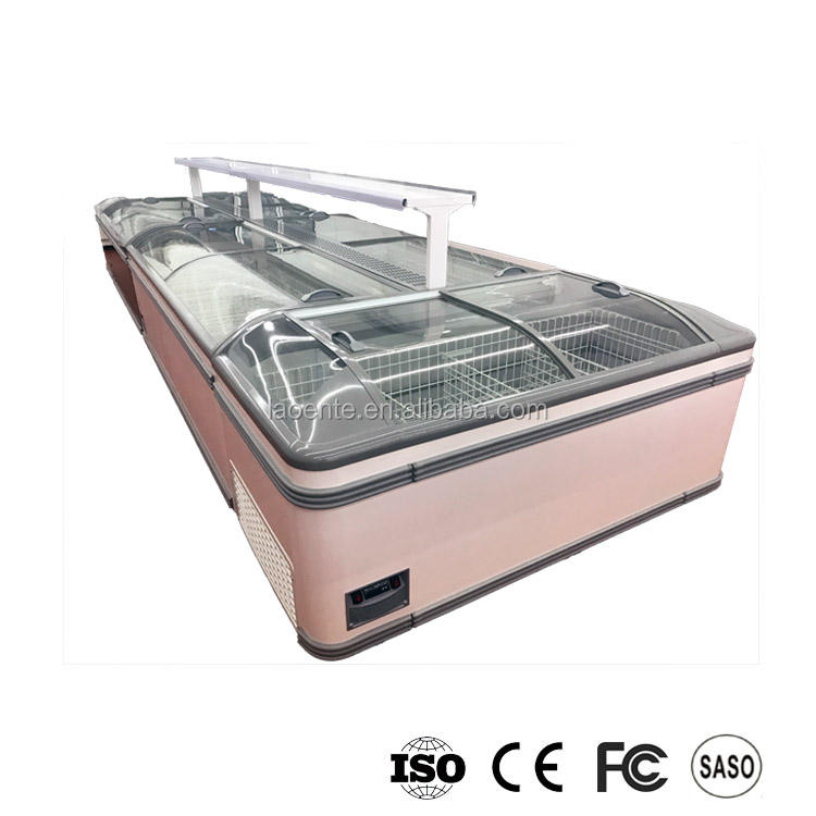 Ultima moda supermercato isola di frutti di mare display freezer