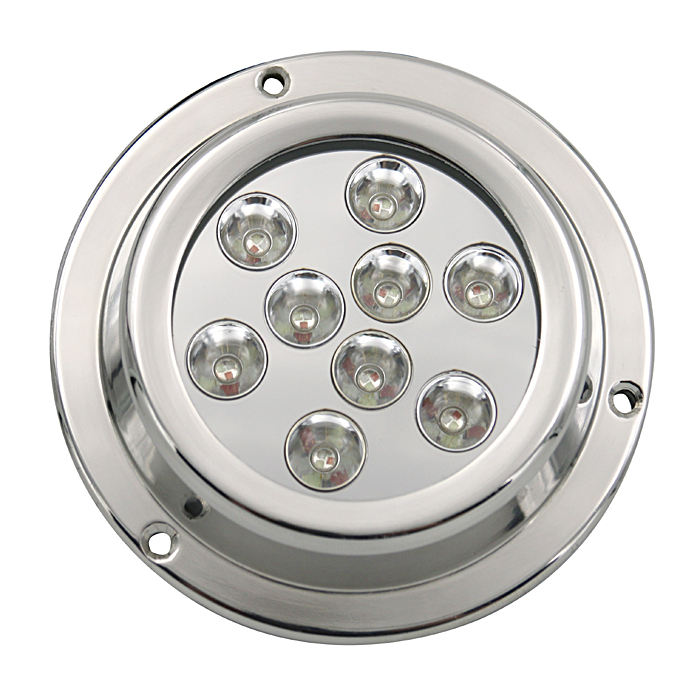 Yuefa hot sale 27w ip68 underwater light housing 316l stainless white blue led pool light