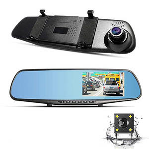 1080P Dash Cam FHD Dashboard Camera Recorder Dual Lenses Mirror Driving Recorder 170 Degree Ultra-Wide Angle 4.3