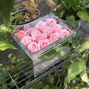 Naxilai Wholesale Luxury Acrylic 12-Hole Silver Mirror Square Flower Box With Transparent Lid best quality