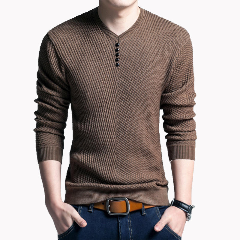 Mens V-Neck Long Sleeve Knit Slim T-Shirt