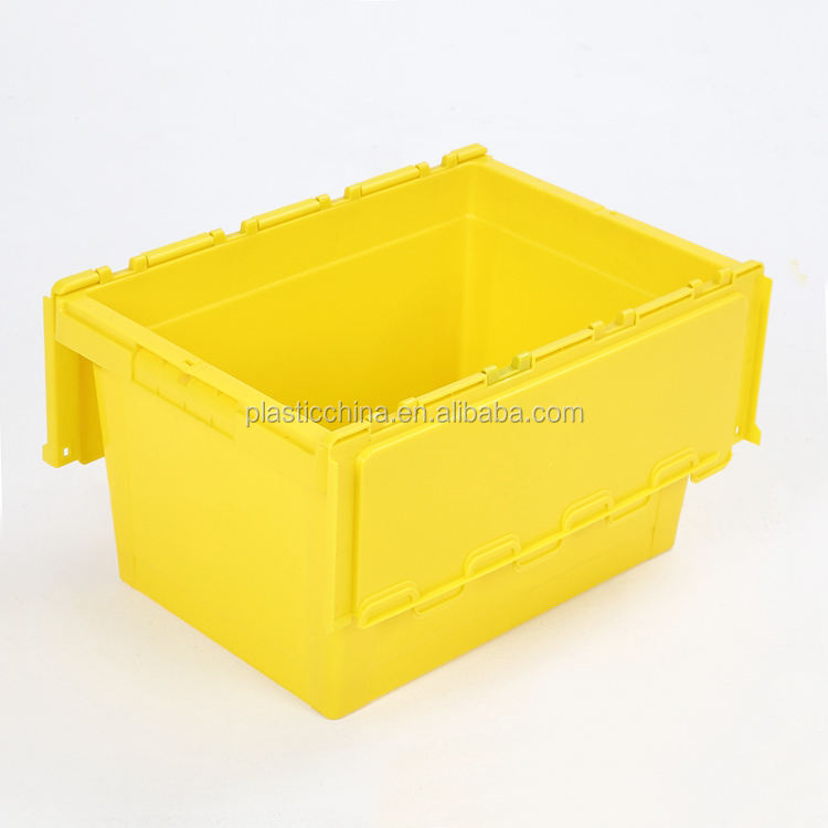 Wholesale PP stackable and nestable heavy duty 60L moving transport plastic container storage boxes & bins with lid