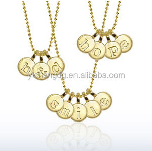 Mini Addition Letter Message Necklace in 14kt Yellow Gold