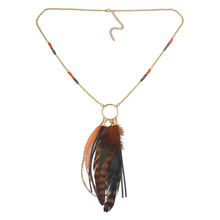 New Fashion Jewelry Gold Plated Long Chain Leather Hanging Feather Tassels Necklace Set