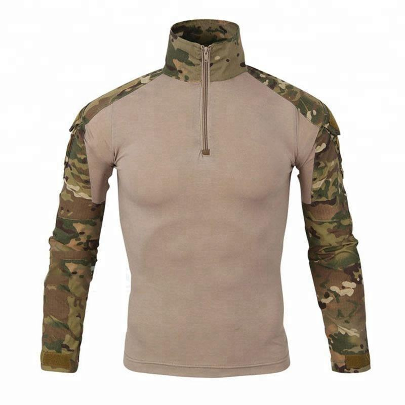 OEM Men Long Sleeve 1/4 Zip Pullover Tee Army Camo Tactical T Shirt