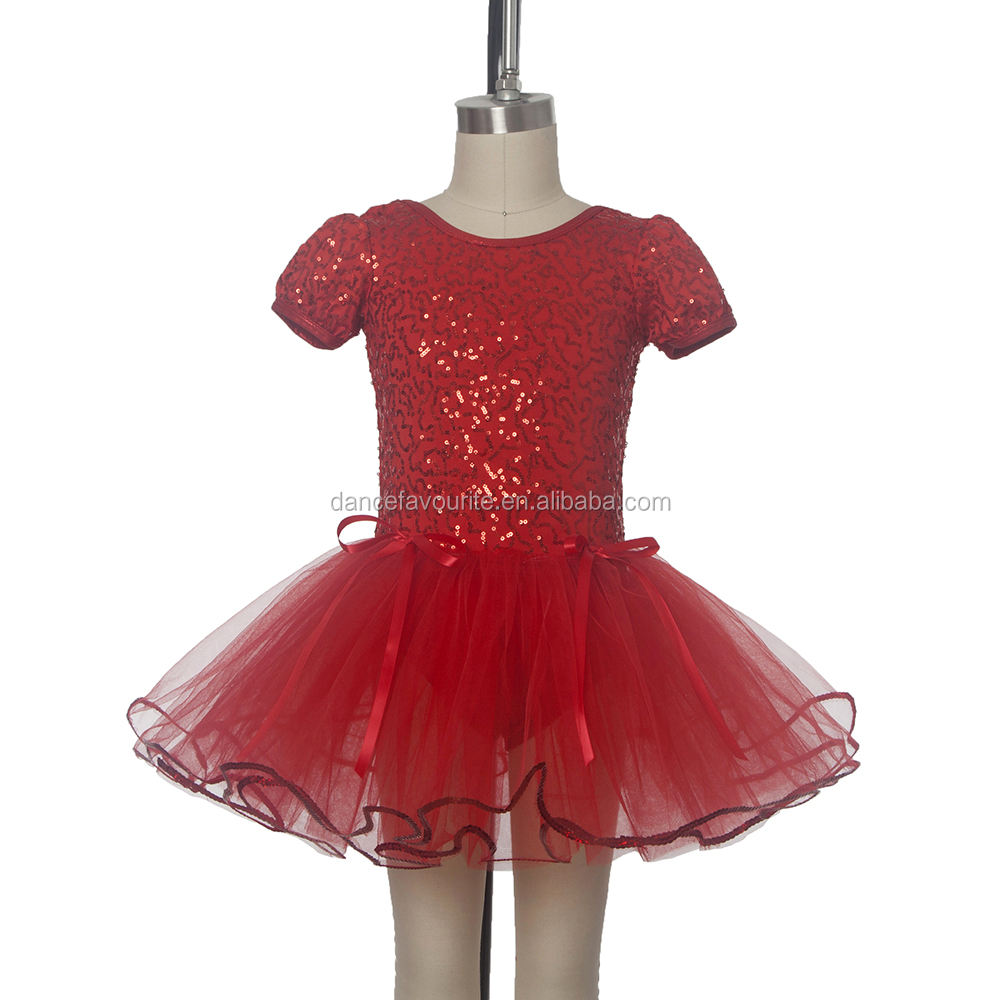 Sparkling Red Sequin Bodice with Attached Soft Tulle Tutu for Girls Ballet Jazz Dance 15247