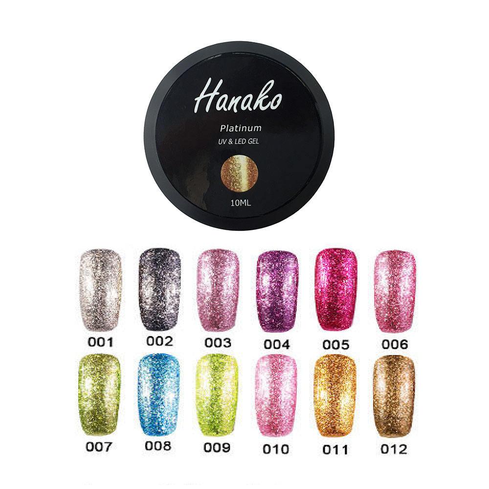 Diseños de uñas 10 ml botella brillante del color del brillo, OEM brillante astilla oro platino UV gel