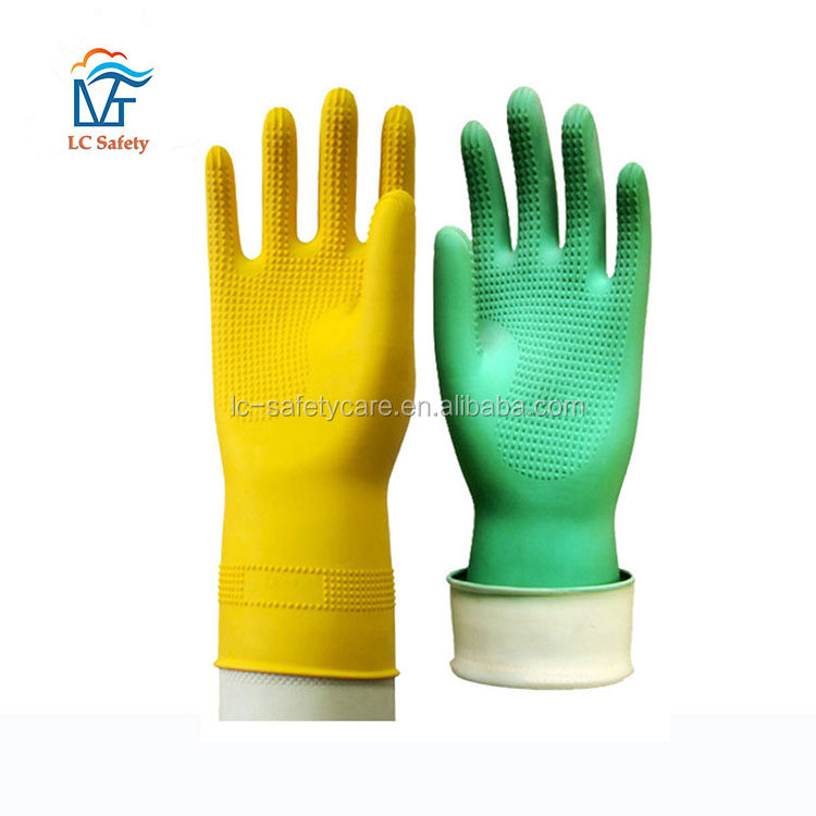Household Cleaning Rubber Garden Gloves Latex Gloves Durable Waterproof Kitchen Dishwashing Dust Stop Cleaning Rubber Tools
