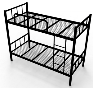 Hot sale Strong metal wrought iron detachable school student double bunk bed with lockers