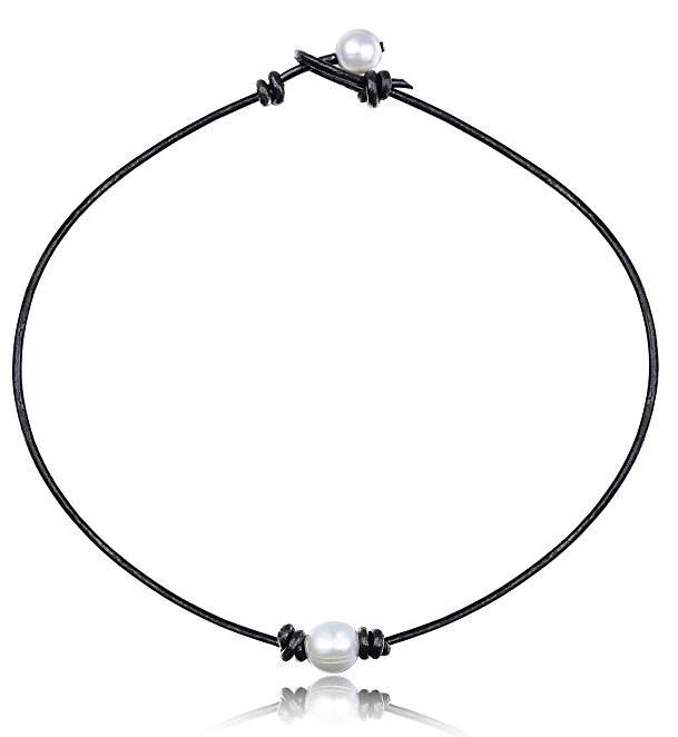 B501 Pearl Choker Necklace Rope Leather PU Natural Collar Necklace Boho Summer Party Necklace