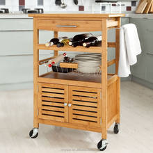 Perfect bamboo kitchen cart with cabinet,bamboo trolley cart with drawer basket