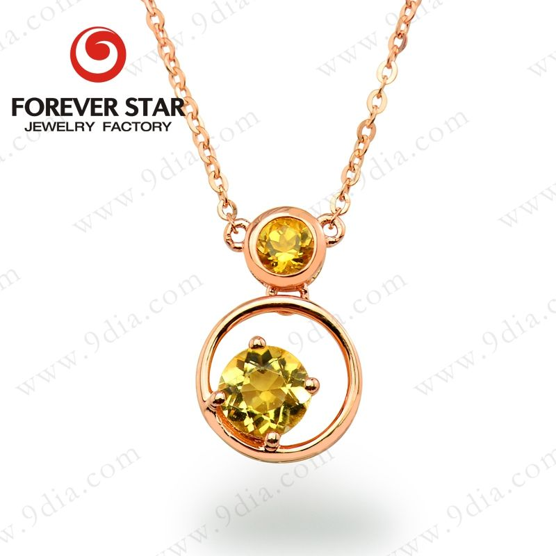 Forever Star Bulk Sale Natural Citrine Yellow Cristal Gold Plated Jewelry Jewelries