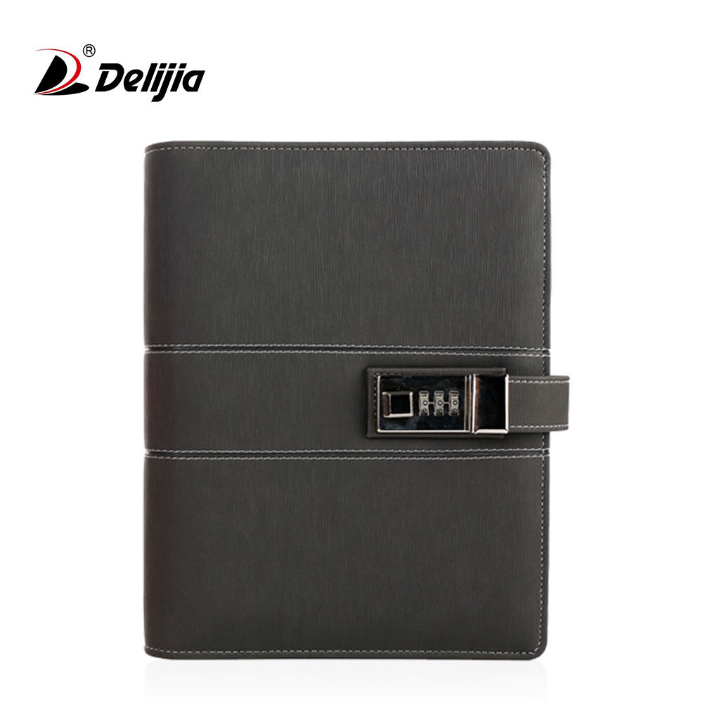 OEM printing journal book leather bound diary security officers lockable notebook