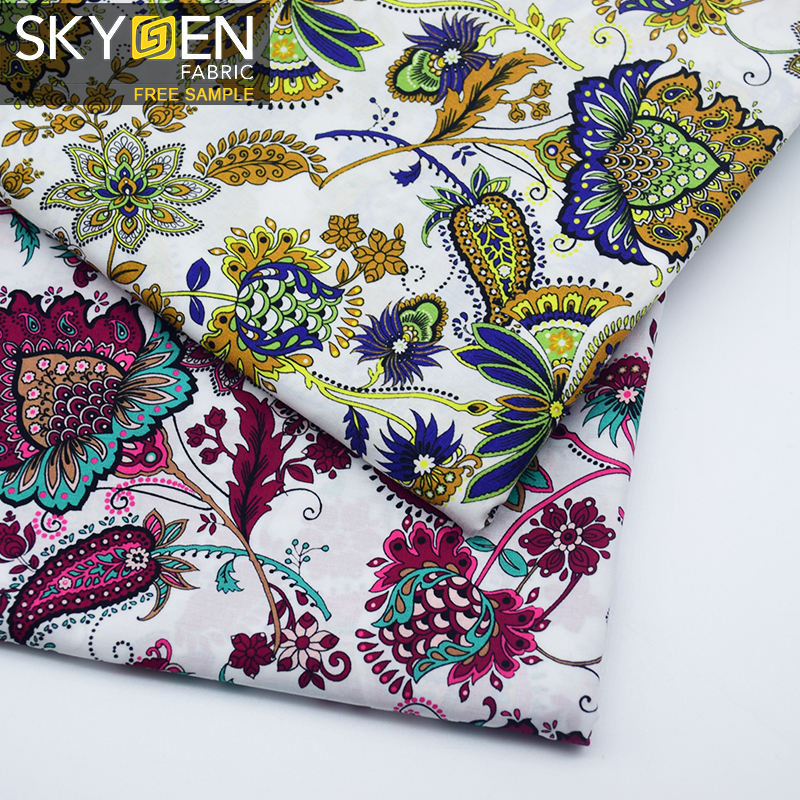 Skygen 100% organic cotton plain weave soft indonesia cotton printed fabric