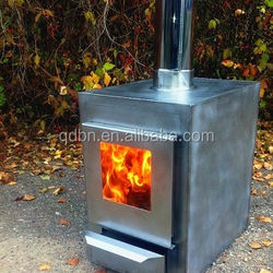 Outdoor wood fired water heater