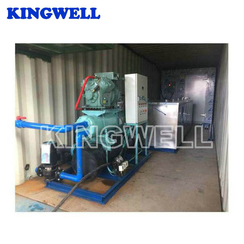 Container movable ice block plant with ice block machine and cold storage room