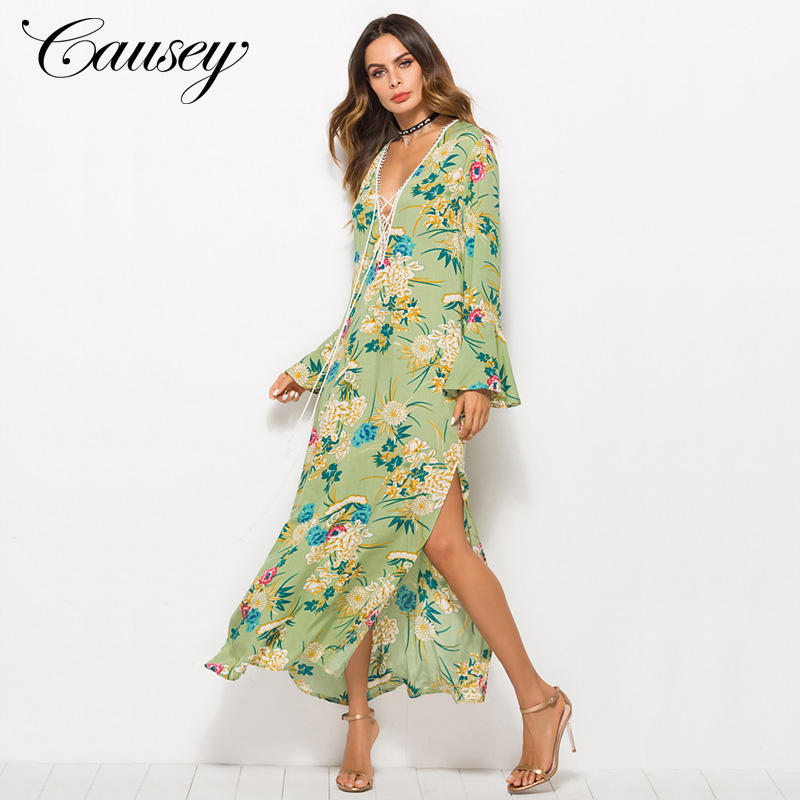 2019 New Arrival Women Unique Product Print Design Long Maxi Dress