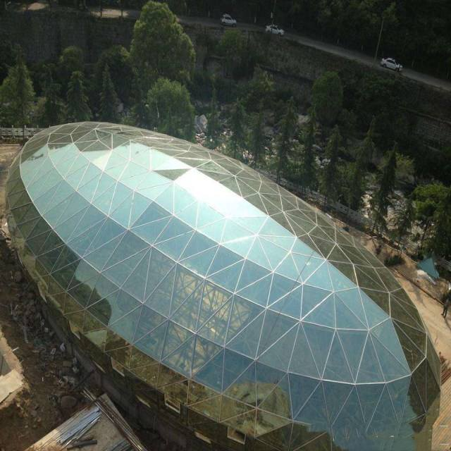 Steel building manufactory prefab space frame geodesic dome house