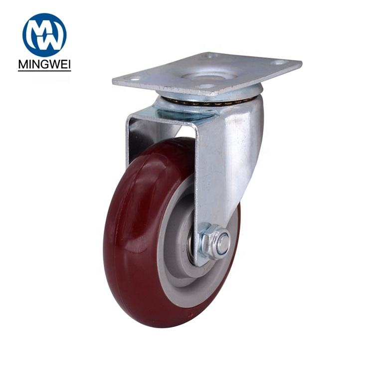 Medium Duty 4 Inch PU/PVC High Temperature Double Ball Bearing Swivel Caster