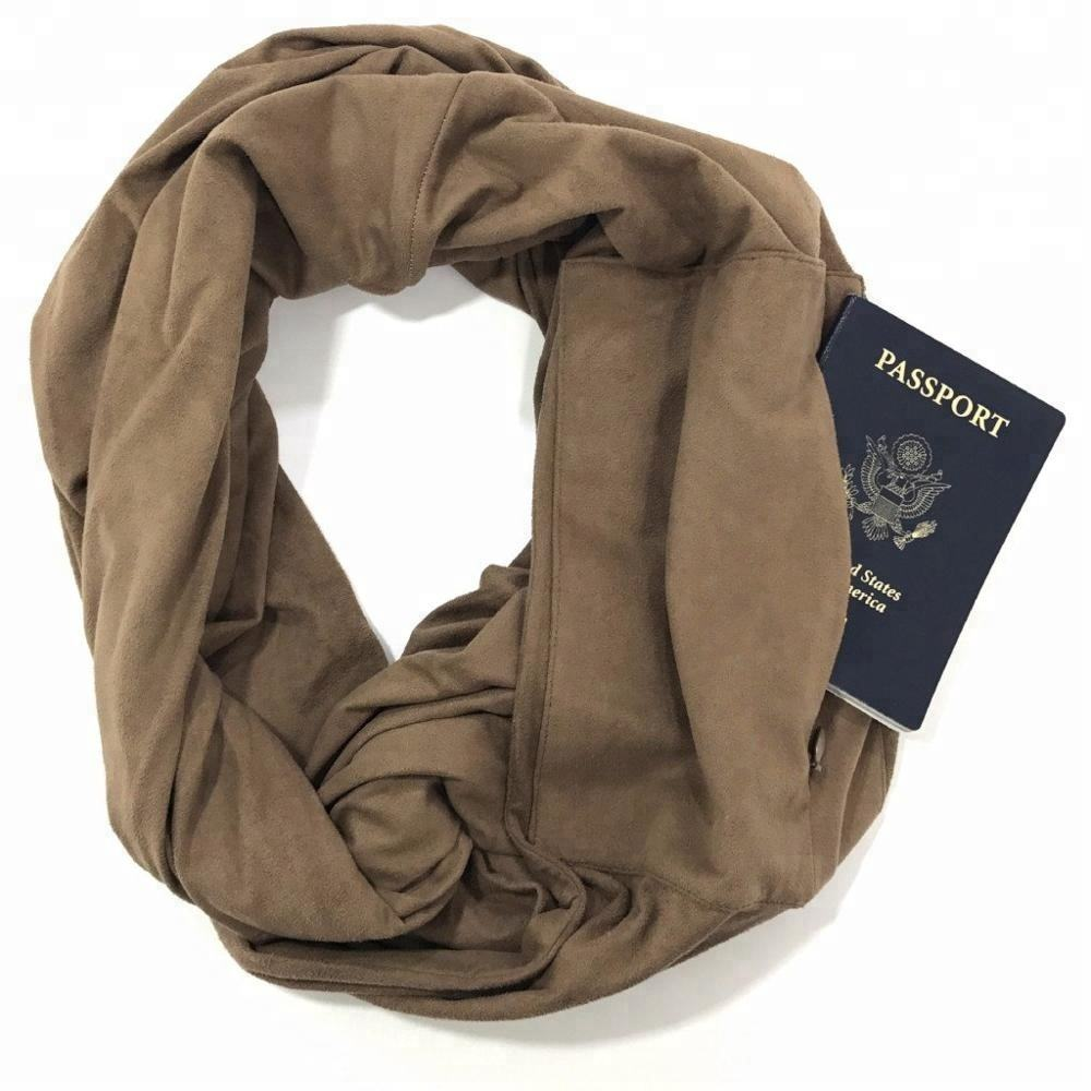 Women Lightweight infinity travel Scarf with Hidden Zipper Pocket