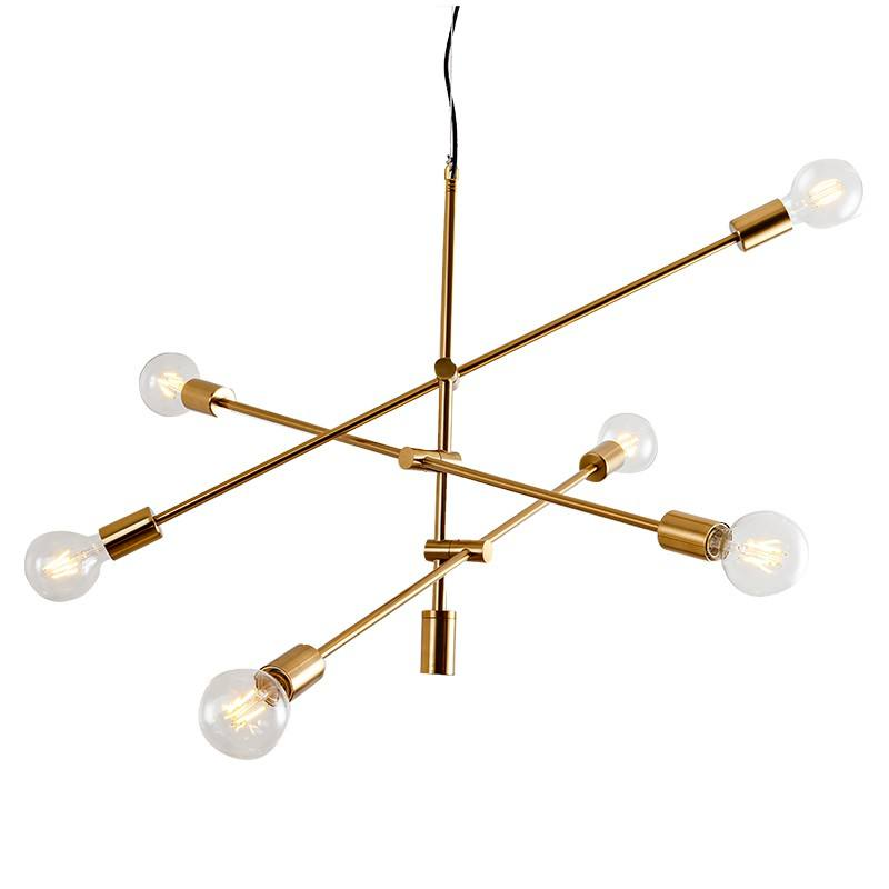 sputnik chandelier Wrought iron golden modern 6 lights for restaurant bedroom cafe pendant lamp
