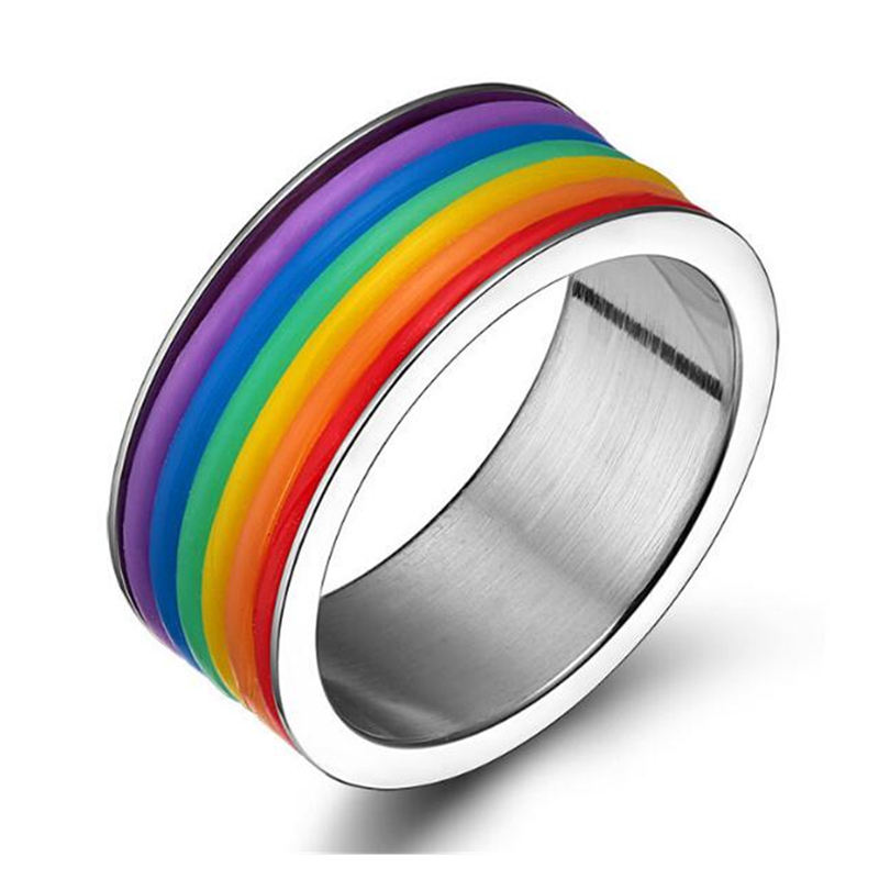 Fashion gay man rvs nieuwste regenboog siliconen wedding ring